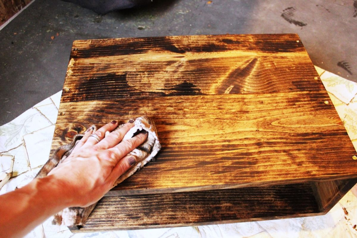 DIY Hairpin Leg Side Table - Wood after stain