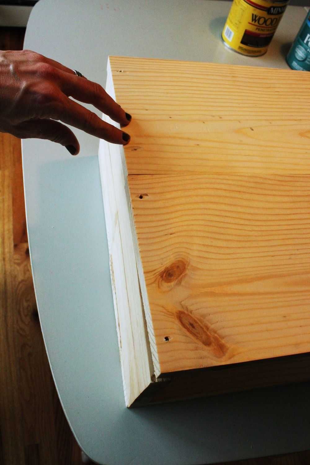DIY Hairpin Leg Side Table - attach second board