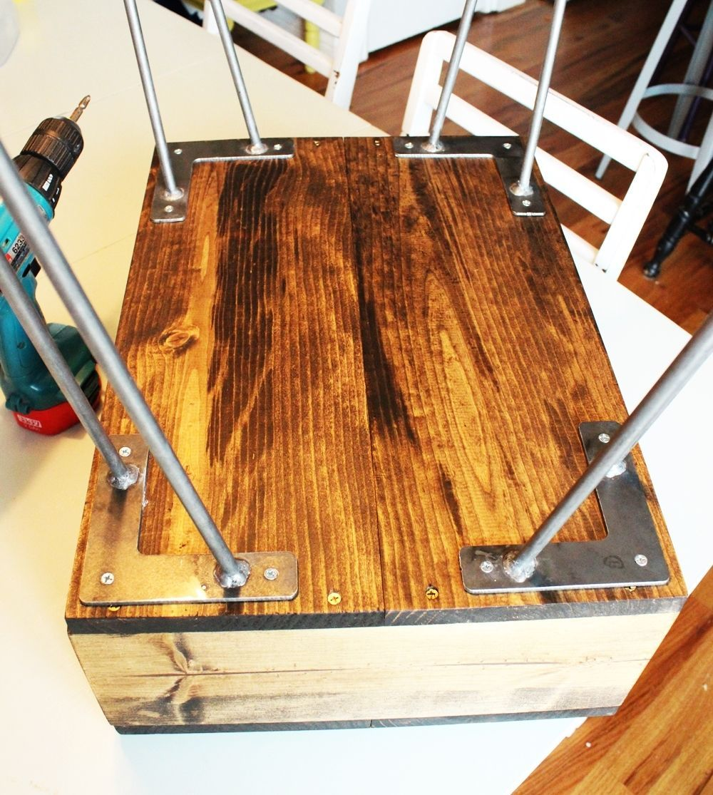 DIY Hairpin Leg Side Table - install all for legs