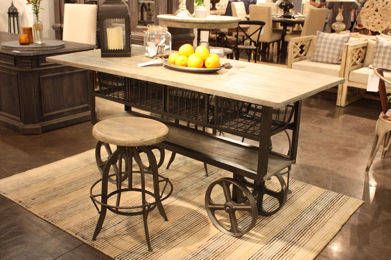 Industrial chic at it's best, the piece would be great in a wide variety of kitchens.
