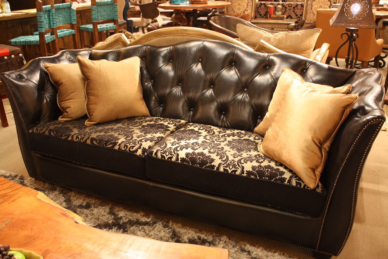 Mixed styles on a leather black couch