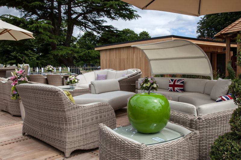 White rattan furniture for outdoor living space