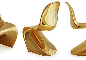 Limited Edition Mini Panton Chairs in metallic gold are stunning